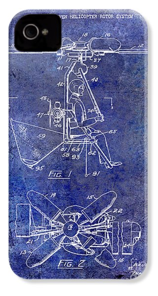 1956 Helicopter Patent Blue IPhone 4 / 4s Case by Jon Neidert