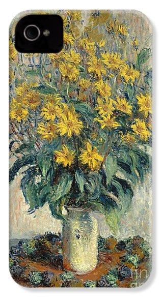 Jerusalem Artichoke Flowers IPhone 4 / 4s Case by Claude Monet