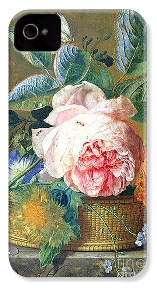 A Basket With Flowers IPhone 4 / 4s Case by Jan van Huysum