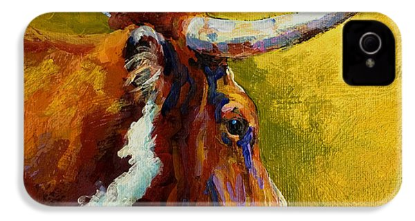 A Couple Of Pointers - Longhorn Steer IPhone 4 / 4s Case by Marion Rose