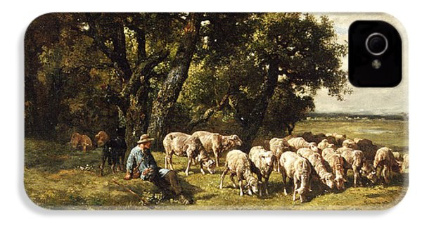 A Shepherd And His Flock IPhone 4 / 4s Case by Charles Emile Jacques