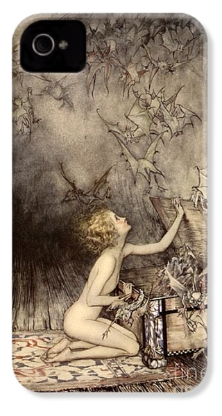 A Sudden Swarm Of Winged Creatures Brushed Past Her IPhone 4 / 4s Case by Arthur Rackham