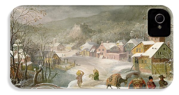 A Winter Landscape With Travellers On A Path IPhone 4 / 4s Case by Denys van Alsloot
