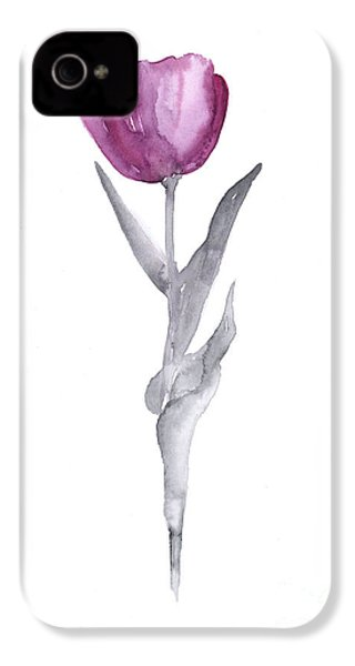 Abstract Tulip Flower Watercolor Painting IPhone 4 / 4s Case by Joanna Szmerdt
