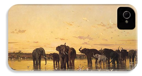 African Elephants IPhone 4 / 4s Case by Charles Emile de Tournemine