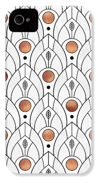 Art Deco Leaves 1 IPhone 4 / 4s Case by Elisabeth Fredriksson