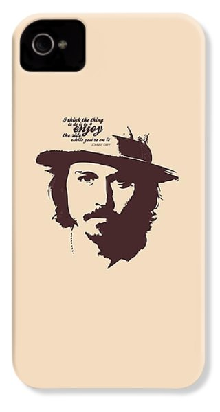 Johnny Depp Minimalist Poster IPhone 4 / 4s Case by Lab No 4 - The Quotography Department
