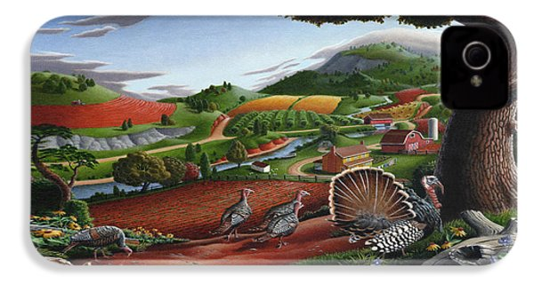 Wild Turkeys Appalachian Thanksgiving Landscape - Childhood Memories - Country Life - Americana IPhone 4 / 4s Case by Walt Curlee
