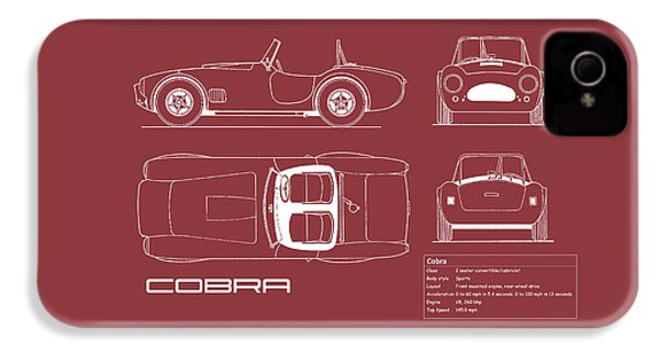 Ac Cobra Blueprint - Red IPhone 4 / 4s Case by Mark Rogan
