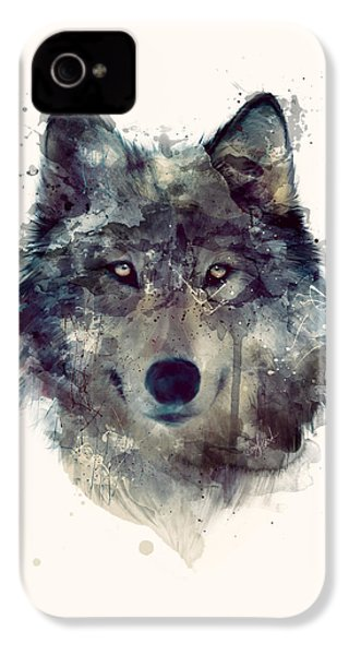 Wolf // Persevere IPhone 4 / 4s Case by Amy Hamilton