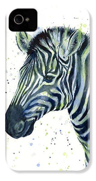 Zebra Watercolor Blue Green  IPhone 4 / 4s Case by Olga Shvartsur