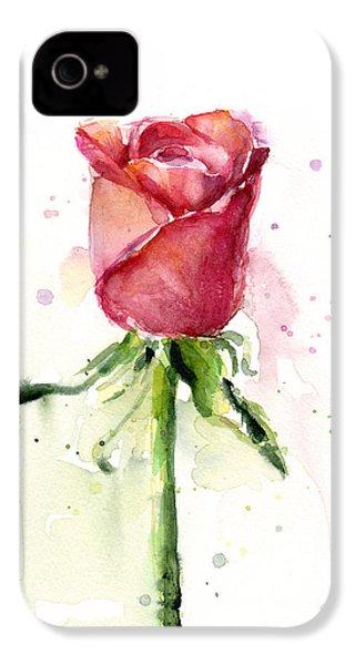 Rose Watercolor IPhone 4 / 4s Case by Olga Shvartsur