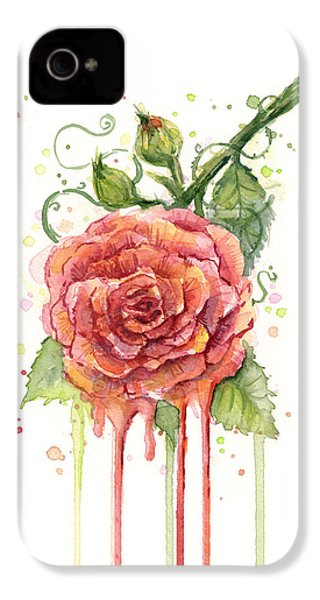 Red Rose Dripping Watercolor  IPhone 4 / 4s Case by Olga Shvartsur