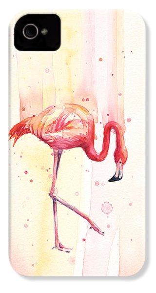 Pink Flamingo Watercolor Rain IPhone 4 / 4s Case by Olga Shvartsur