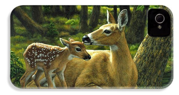 Whitetail Deer - First Spring IPhone 4 / 4s Case by Crista Forest