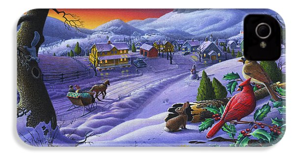 Christmas Sleigh Ride Winter Landscape Oil Painting - Cardinals Country Farm - Small Town Folk Art IPhone 4 / 4s Case by Walt Curlee
