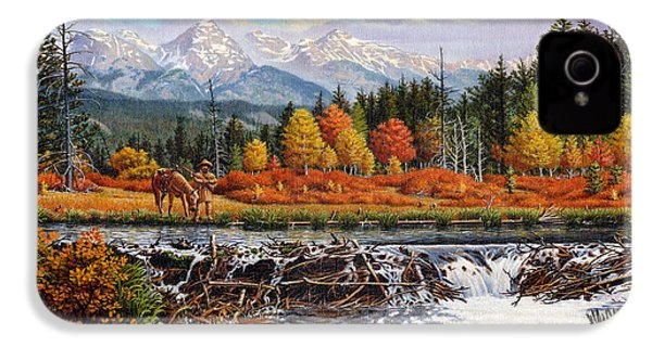Western Mountain Landscape Autumn Mountain Man Trapper Beaver Dam Frontier Americana Oil Painting IPhone 4 / 4s Case by Walt Curlee