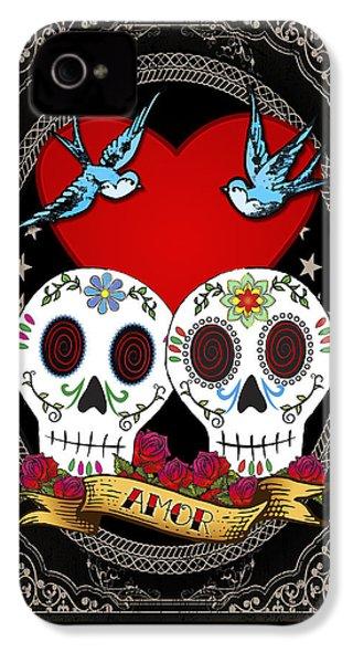 Love Skulls II IPhone 4 / 4s Case by Tammy Wetzel