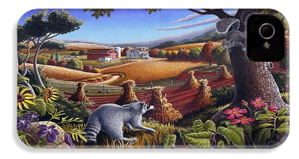 Rural Country Farm Life Landscape Folk Art Raccoon Squirrel Rustic Americana Scene  IPhone 4 / 4s Case by Walt Curlee