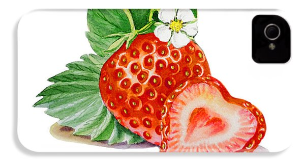 Artz Vitamins A Strawberry Heart IPhone 4 / 4s Case by Irina Sztukowski