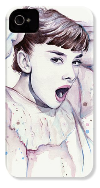 Audrey - Purple Scream IPhone 4 / 4s Case by Olga Shvartsur