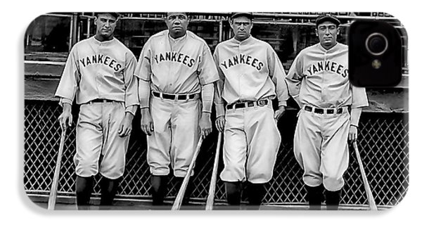 Babe Ruth Lou Gehrig And Joe Dimaggio IPhone 4 / 4s Case by Marvin Blaine
