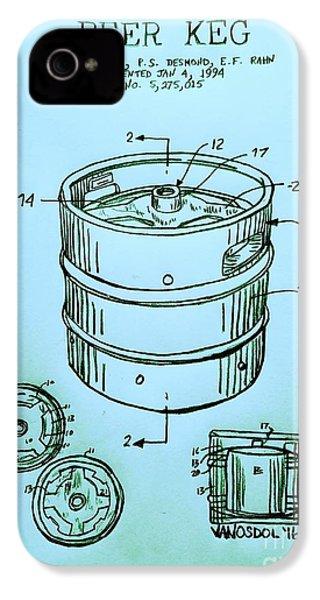Beer Keg 1994 Patent - Blue IPhone 4 / 4s Case by Scott D Van Osdol