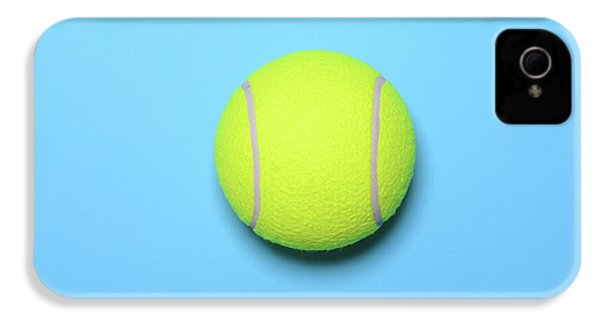 Big Tennis Ball On Blue Background - Trendy Minimal Design Top V IPhone 4 / 4s Case by Aleksandar Mijatovic