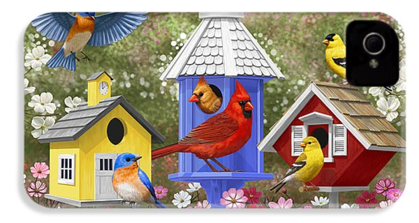 Bird Painting - Primary Colors IPhone 4 / 4s Case by Crista Forest