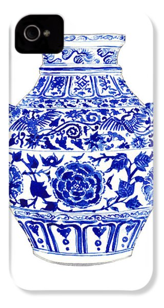 Blue And White Ginger Jar Chinoiserie 4 IPhone 4 / 4s Case by Laura Row