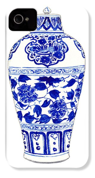 Blue And White Ginger Jar Chinoiserie Jar 1 IPhone 4 / 4s Case by Laura Row
