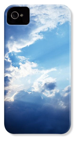 Blue Sky And Clouds With Sun Light IPhone 4 / 4s Case by Jozef Klopacka
