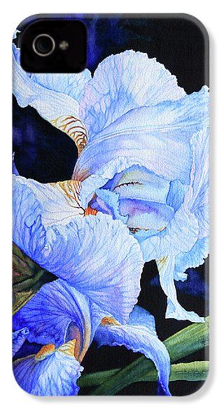 Blue Summer Iris IPhone 4 / 4s Case by Hanne Lore Koehler