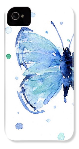 Blue Watercolor Butterfly IPhone 4 / 4s Case by Olga Shvartsur
