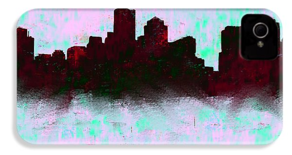 Boston Skyline Sky Blue  IPhone 4 / 4s Case by Enki Art