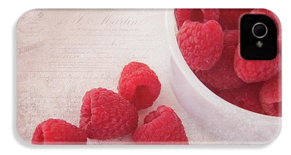 Bowl Of Red Raspberries IPhone 4 / 4s Case by Cindi Ressler
