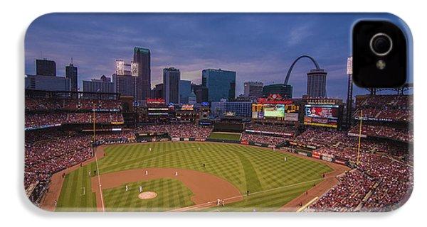 Busch Stadium St. Louis Cardinals Ball Park Village Twilight #3c IPhone 4 / 4s Case by David Haskett
