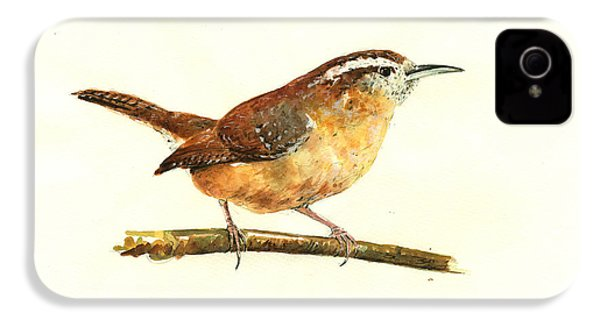 Carolina Wren Watercolor Painting IPhone 4 / 4s Case by Juan  Bosco