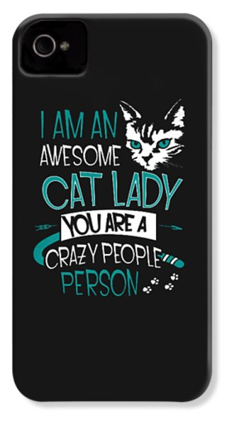 Cat Lady IPhone 4 / 4s Case by Jackie Robinson