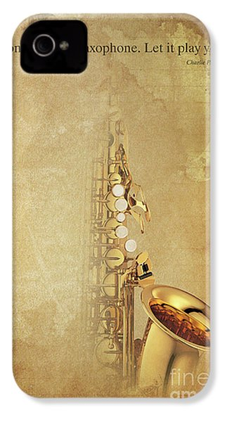 Charlie Parker Saxophone Brown Vintage Poster And Quote, Gift For Musicians IPhone 4 / 4s Case by Pablo Franchi