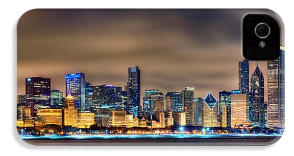 Chicago Skyline At Night Panorama Color 1 To 3 Ratio IPhone 4 / 4s Case by Jon Holiday