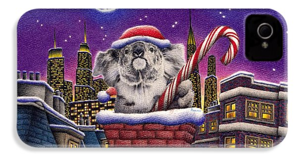Christmas Koala In Chimney IPhone 4 / 4s Case by Remrov