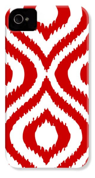 Circle And Oval Ikat In White T02-p0100 IPhone 4 / 4s Case by Custom Home Fashions