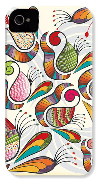 Colorful Paisley Pattern IPhone 4 / 4s Case by Famenxt DB