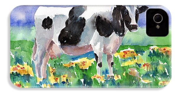 Cow In The Meadow IPhone 4 / 4s Case by Arline Wagner