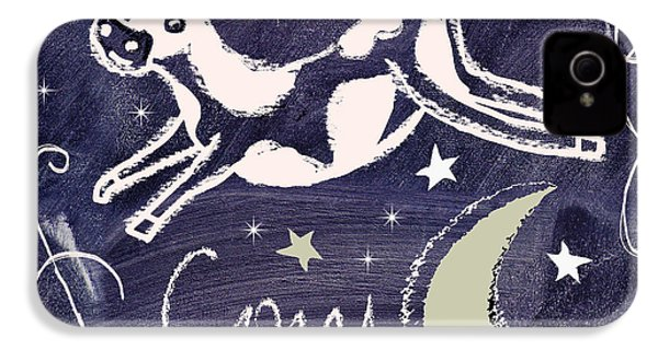 Cow Jumped Over The Moon Chalkboard Art IPhone 4 / 4s Case by Mindy Sommers