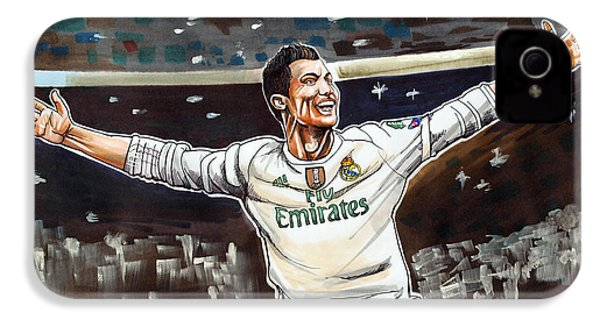 Cristiano Ronaldo Of Real Madrid IPhone 4 / 4s Case by Dave Olsen