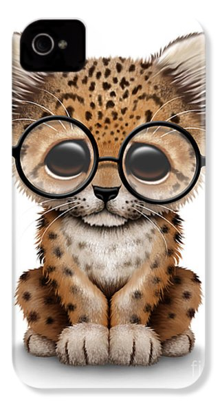 Cute Baby Leopard Cub Wearing Glasses IPhone 4 / 4s Case by Jeff Bartels
