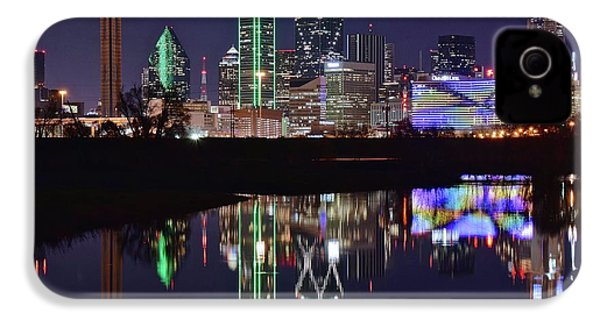 Dallas Reflecting At Night IPhone 4 / 4s Case by Frozen in Time Fine Art Photography
