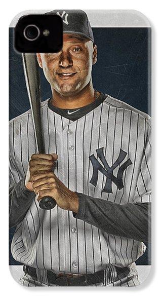 Derek Jeter New York Yankees Art IPhone 4 / 4s Case by Joe Hamilton